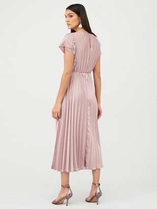 Very Pleated Satin Midi Dress - Pink