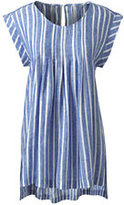 Lands' End Women's Petite Sleeveless Pleated Linen Top-Stone Wide Stripe