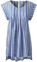 Lands' End Women's Plus Size Sleeveless Pleated Linen Top-Stone Wide Stripe