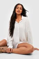 boohoo Oversized Split Side Stripe Shirt