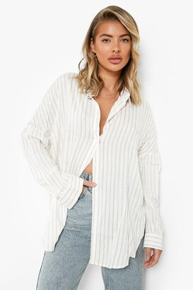 boohoo Oversized Split Side Stripe Shirt