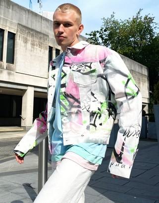 Jaded London denim jacket co-ord in white graffiti print