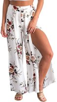 Berrygo Women's Boho High Waist Split Floral Print Wide Leg Loose Long Culottes Pants