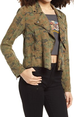 Blank NYC Camo Print Moto Jacket