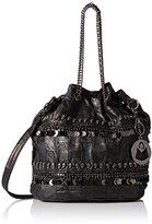 MG Collection Lambskin Skull Studded Bucket Bag
