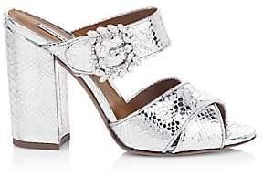 Tabitha Simmons Women's Reyner Buckled Metallic Snake-Embossed Leather Block-Heel Slide Sandals