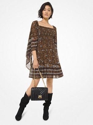 MICHAEL Michael Kors MK Paisley Georgette Smocked Scarf-Sleeve Dress - Caramel - Michael Kors