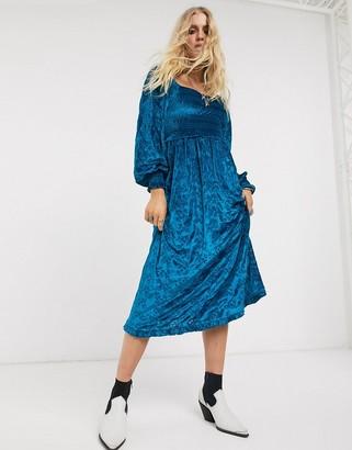 Asos Design DESIGN velvet broderie shirred midi dress in blue
