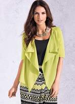 Kaleidoscope Chiffon Trim Knitted Shrug
