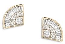 Adina Reyter 14K Yellow Gold Diamond Deco Stud Earrings