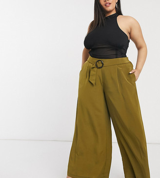 Vero Moda Curve wide leg trousers in olive