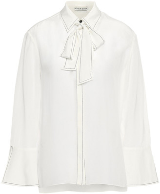 Alice + Olivia Pussy-bow Silk Crepe De Chine Shirt