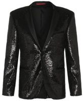 Hugo Boss Adris Sequins Extra Slim Fit, Satin Sequin Sport Coat 38R Black
