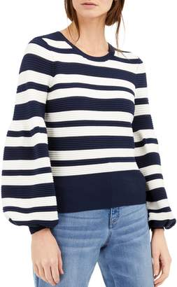 INC International Concepts Striped Puff-Sleeve Sweater