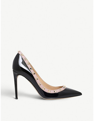 Valentino Women's Black and Beige Rockstud 100 Patent-Leather Courts, Size: EUR 38 / 5 UK WOMEN