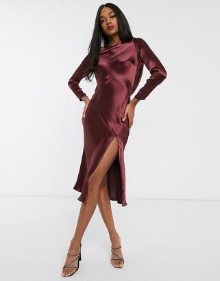 Asos Design DESIGN long sleeve cowl back midi dress-Red