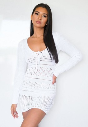 Missguided White Crochet Lace Up Mini Dress