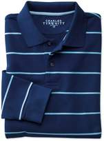 Charles Tyrwhitt Blue and Sky Stripe Pique Long Sleeve Cotton Polo Size XL