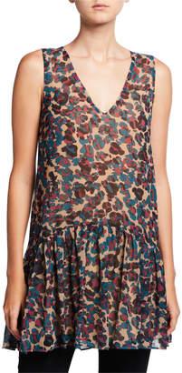 Chloé Oliver Risa Leo Leopard Print Sleeveless Drop Waist Top