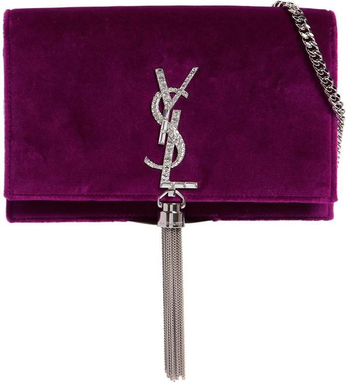 Saint Laurent Kate Monogram Crystals Velvet Bag