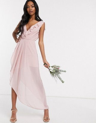 TFNC Bridesmaid midi wrap frilly dress in pink