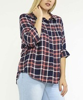 Flying Tomato Navy Plaid Button-Up - Plus