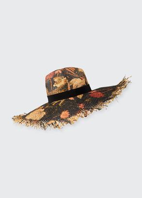 Etro Cappello Printed Straw Sun Hat