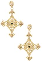 Armenta 18K Yellow Gold, Peacock Tourmaline & 0.96 Total Ct. Diamond Large Cross Earrings