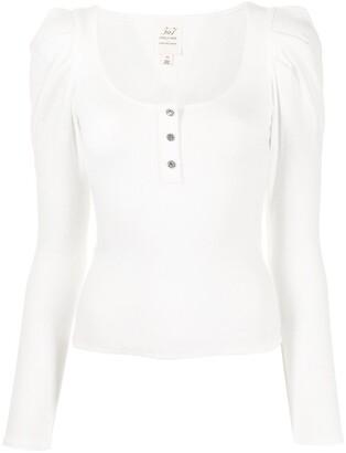 Cinq à Sept U-neck button-front knitted top
