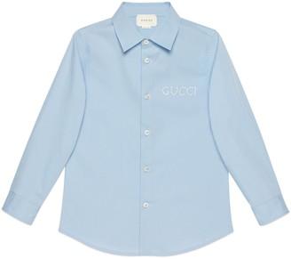 Gucci Children's embroidered poplin shirt