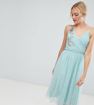 Little Mistress Tall Floral Applique Midi Dress