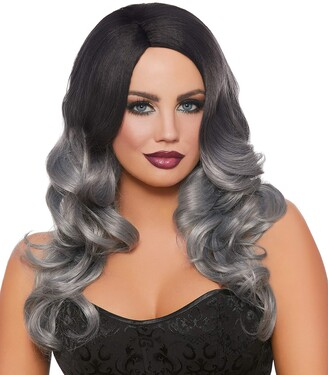 Dreamgirl Women's Long Wavy Black/Gray Ombre Wig One Size