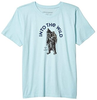 Life is Good Into the Wild Bear Cool Tee (Little Kids/Big Kids) (Beach Blue) Boy's T Shirt