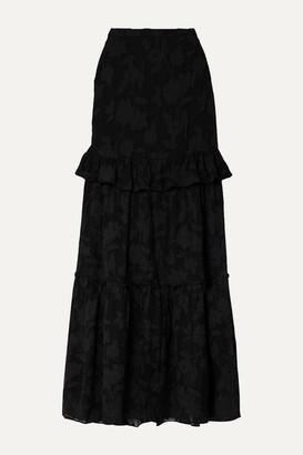 Rachel Zoe Lilith Ruffled Fil Coupe Silk And Cotton-blend Chiffon Maxi Skirt - Black