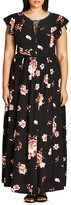 City Chic Lover Floral Print Maxi Dress