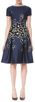 Carolina Herrera Short-Sleeve Floral-Embroidered Dress, Dark Navy/Black