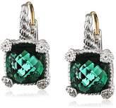 Judith Ripka La Petite Cushion Stone Earrings on Wire - Green Quartz