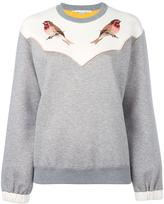 Stella McCartney embroidered robin sweatshirt - women - Cotton/Polyamide - 42