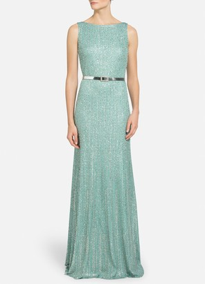 St. John Tinsel Knit Fit & Flare Gown