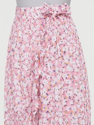 Very Mesh Wrap Midi Skirt - Pink Print
