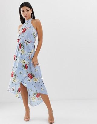 AX Paris floral halterneck midi dress-Blue