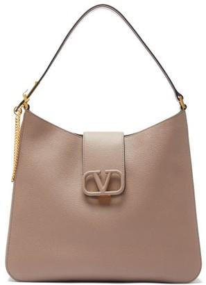 Valentino V-sling Grained Leather Shoulder Bag - Womens - Grey