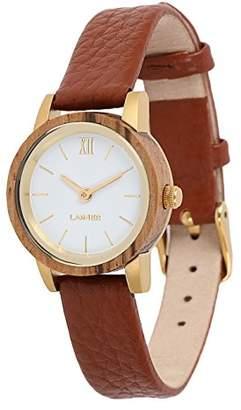 LAiMER Women's Woodwatch FELICIA Mod. 0091 zebrawood - Analogue Quartz-Wristwatch with brown leather-strap