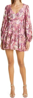 LoveShackFancy Willis Metallic Floral Long Sleeve Tiered Ruffle Dress