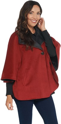 Martha Stewart Button Front Cape Coat with Pockets