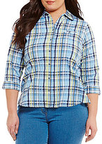 Allison Daley Plus Button-Up Plaid Blouse