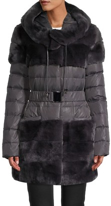Belle Fare Rabbit Fur-Trim Down Puffer Coat