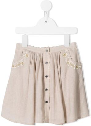 Velveteen Chrissy buttoned skirt
