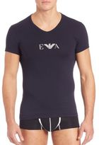 Emporio Armani Stretch Cotton Eagle Logo V-Neck T-Shirt