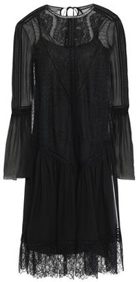 Alberta Ferretti Gathered Lace-paneled Silk-voile Dress